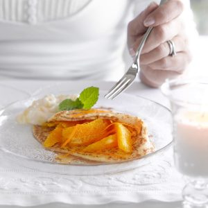 Citrus fruit-filled pancakes