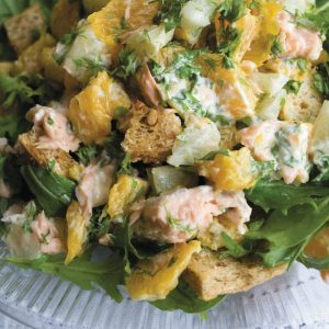 Citrus salmon with croutons