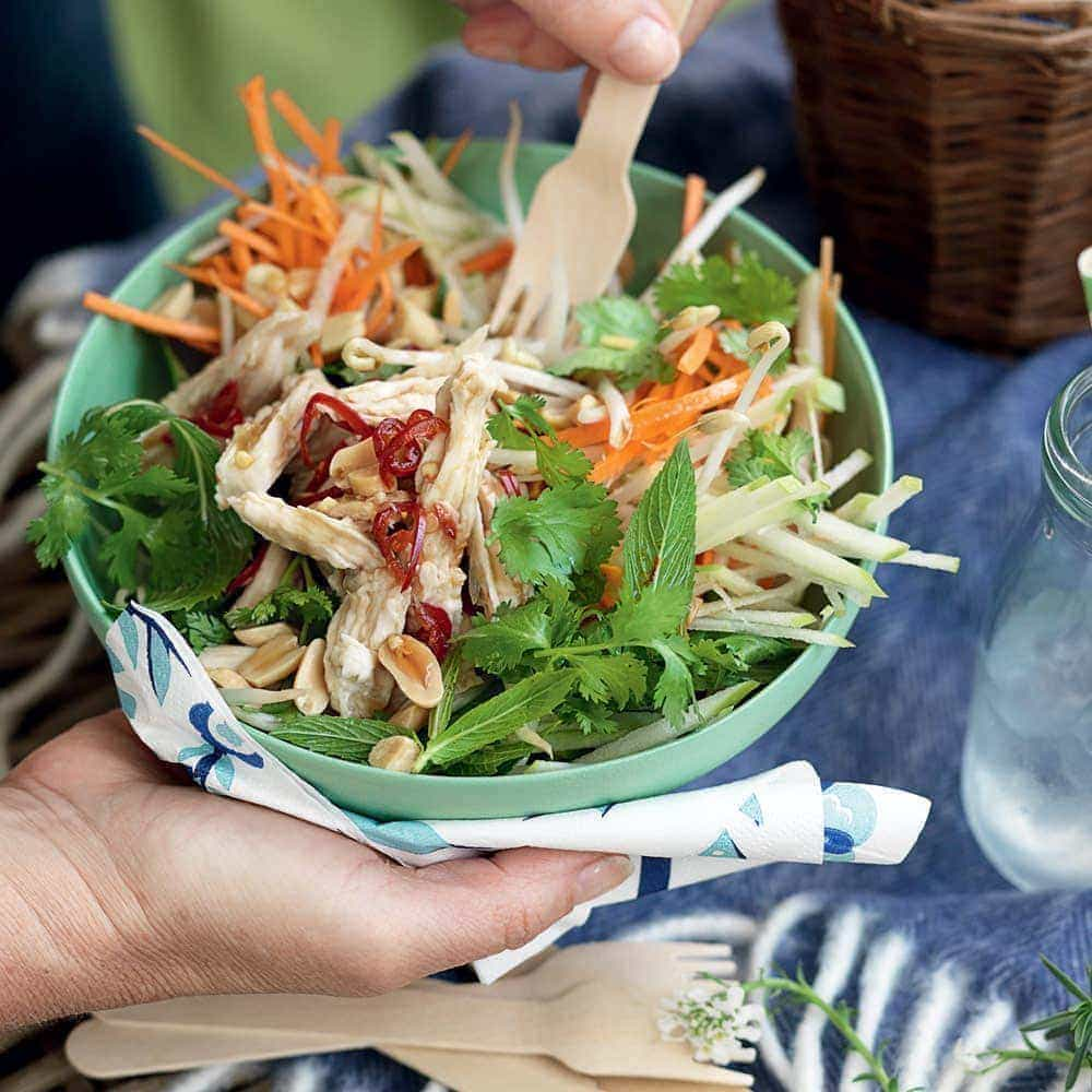 Coconut-poached chicken with Vietnamese salad