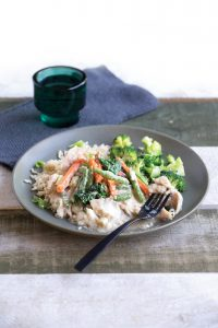 Coconut soy baked fish with veges and rice