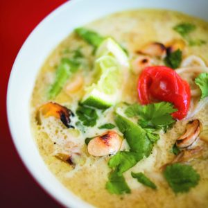 Coconut and cashew curry with roast vegetables