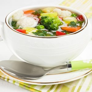 Comforting chicken and vegetable soup