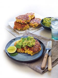 Corn and capsicum fritters with avocado smash