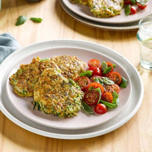 Courgette, broccoli and blue cheese fritters