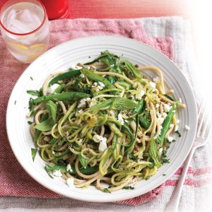 Courgette, lentil, feta and mint spaghetti