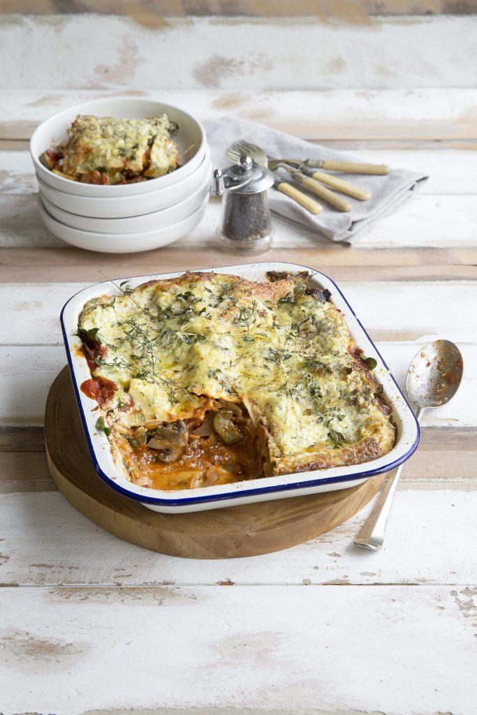 Courgette and tomato lasagne
