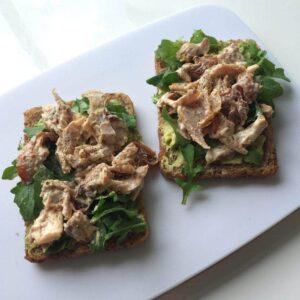 Creamy chicken and avocado open sandwich
