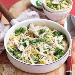 Creamy chicken, leek and pea pasta