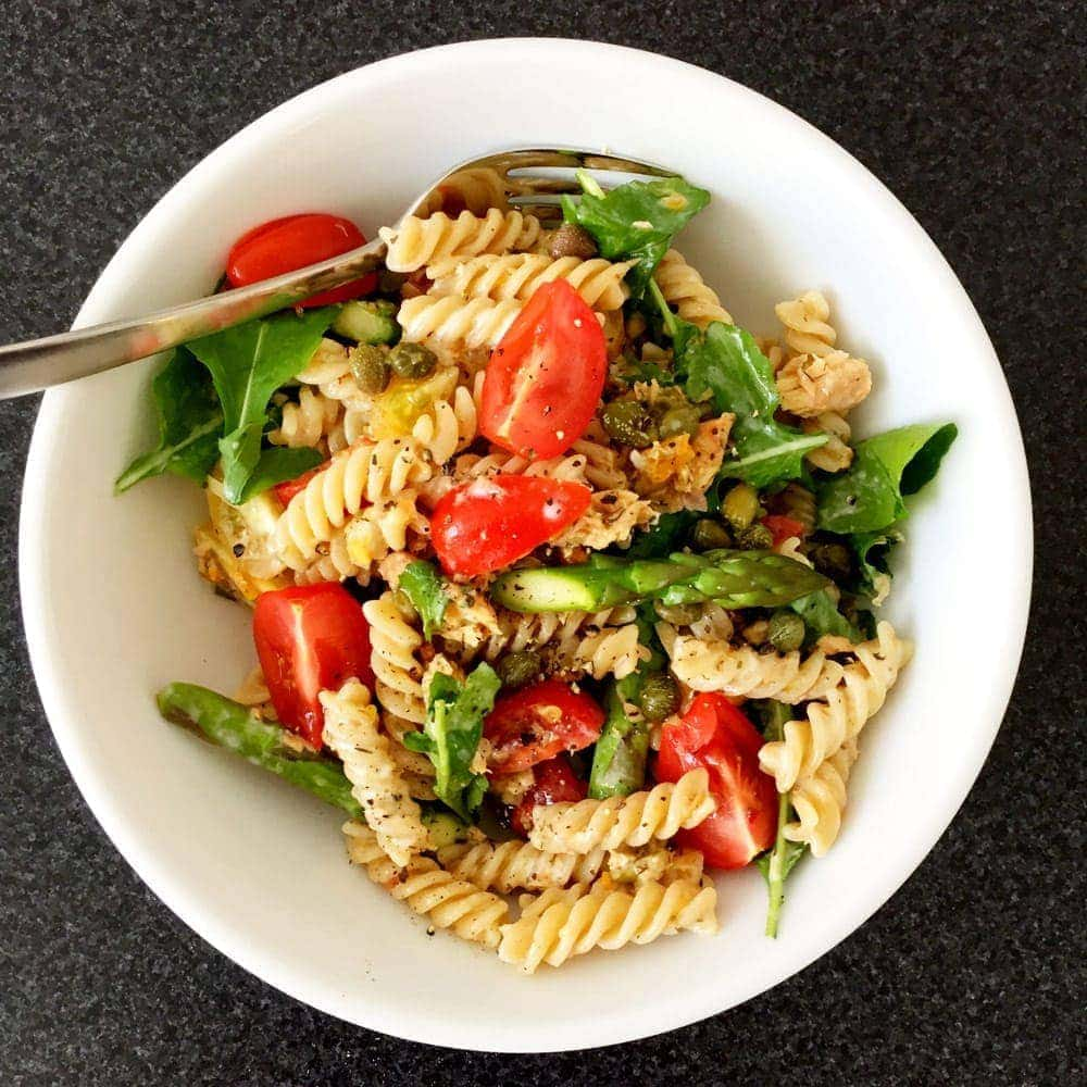 Creamy salmon and dill pasta salad