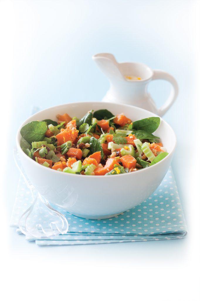 Crunchy kumara and cashew salad