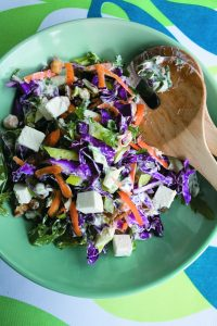 Crunchy nut slaw with feta and chickpeas