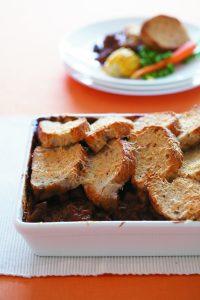 Crunchy-top Guinness beef and mushroom casserole