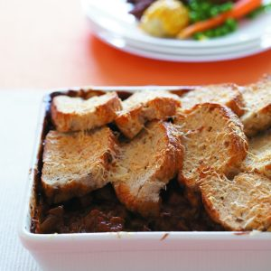 Crunchy-top Guinness beef and mushroom casserole