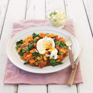 Crushed kumara, sun-dried tomatoes and spinach with poached egg