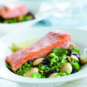 Crushed butter beans and peas with salmon