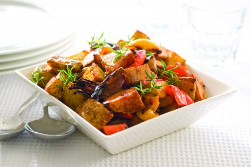 Cubed roasted vegetables