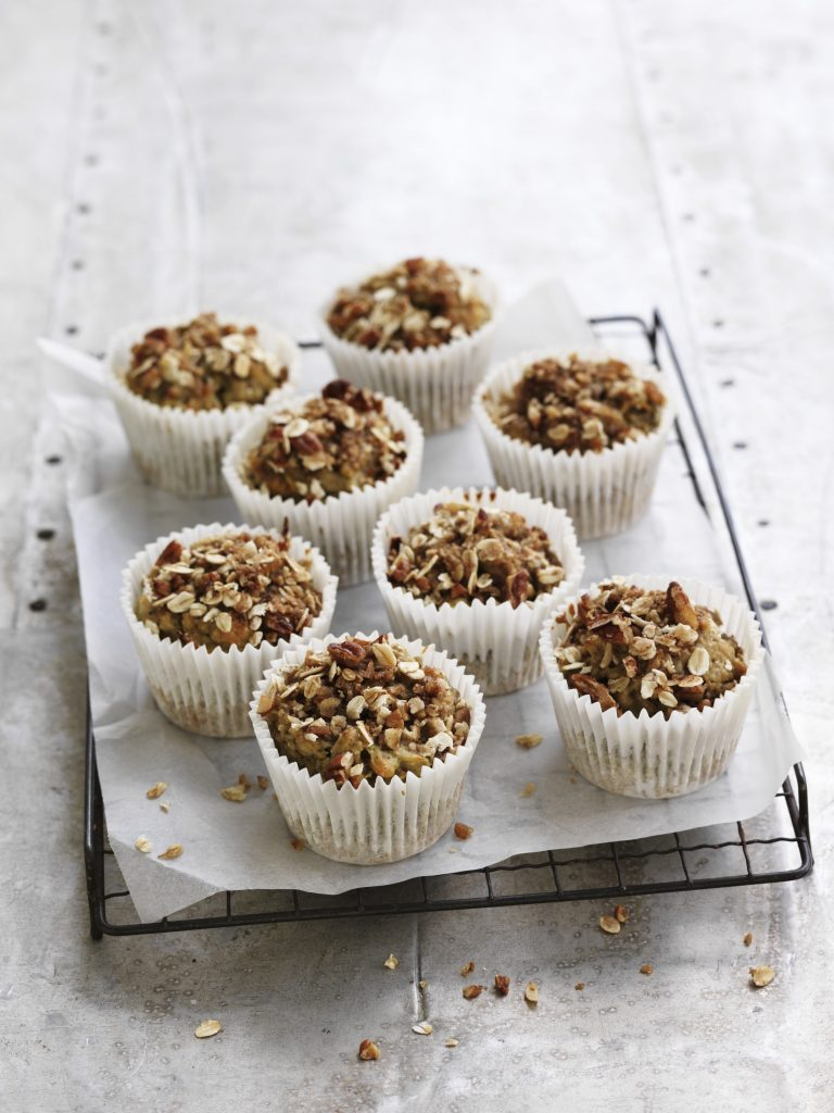 Cucumber and pear streusel muffins