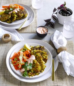 Curried vege fritters with cucumber and carrot salad and chilli yoghurt