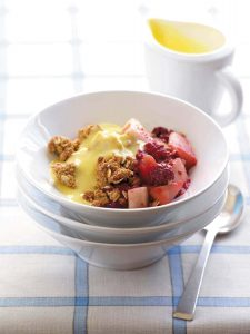 Delicious pear and raspberry crumble