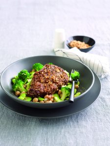Dukkah-crusted steak with lemony broccoli and broad beans