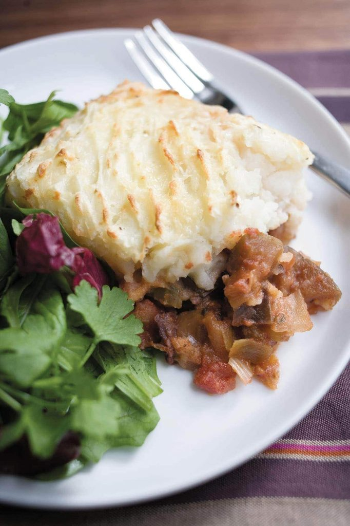 Eggplant caponata with cheesy potato topping