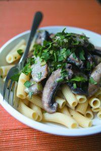 Field mushroom and vege sausage rigatoni