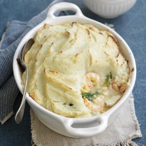 Fish pie with potato topping
