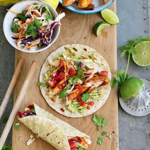 Fish tacos with cabbage and coriander salad
