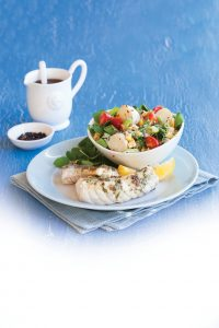 Fish with watercress and potato salad