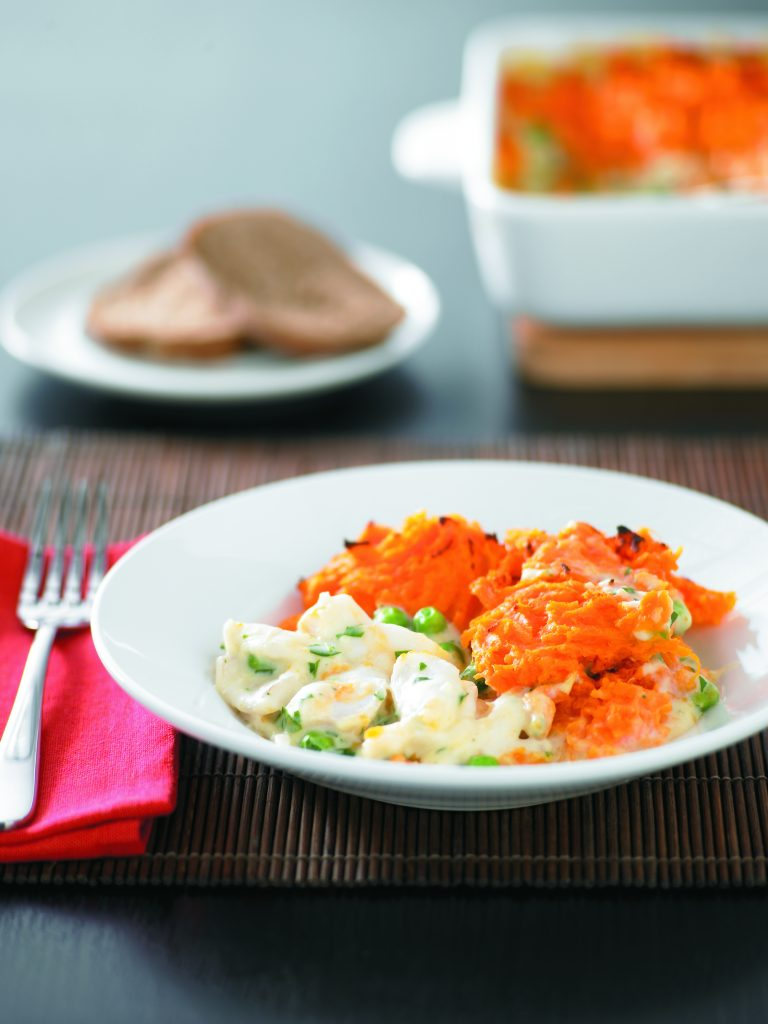 Fish pie with kumara topping