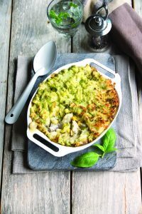 Fish pie with pea mash topping