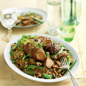 Five-spice pork with shiitake and sugar snap rice
