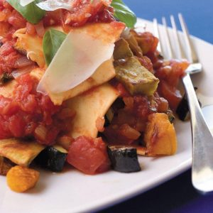 Free-form lasagne with roasted vegetables