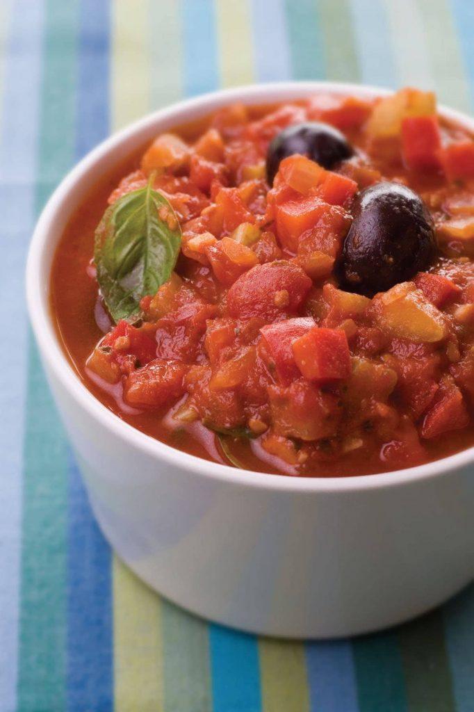 Fresh vegetable and basil pasta sauce