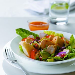 Fruity chicken and avocado salad