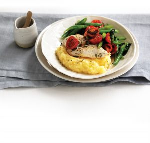 Garlic and rosemary chicken with cheesy polenta