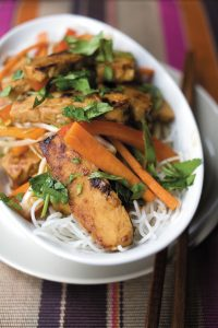 Ginger and soy tempeh stir-fry
