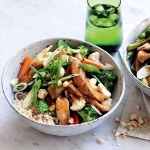 Ginger pork and cashew stir-fry