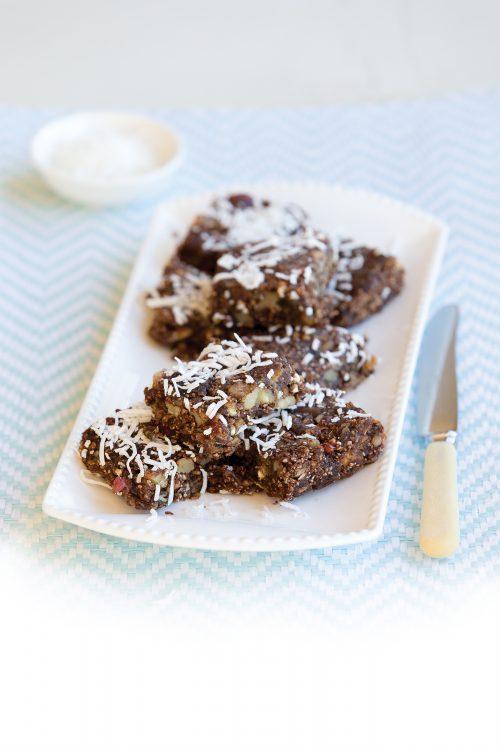 Gluten-free chia and walnut slice