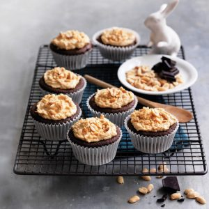 Gluten-free chocolate cupcakes with peanut butter frosting