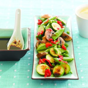Green vegetable salad with Chinese dressing