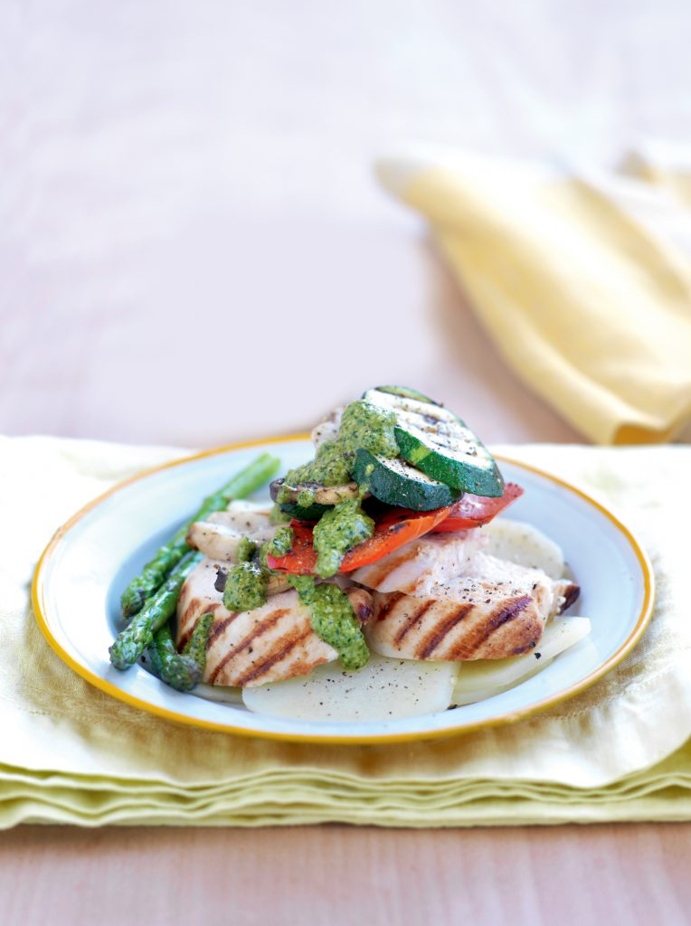 Grilled chicken with macadamia, basil and parsley pesto