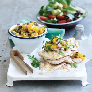 Grilled chicken with spicy mango, green chilli and coriander salsa