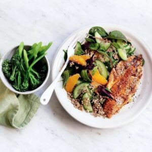 Grilled fish with rice, quinoa and orange salad