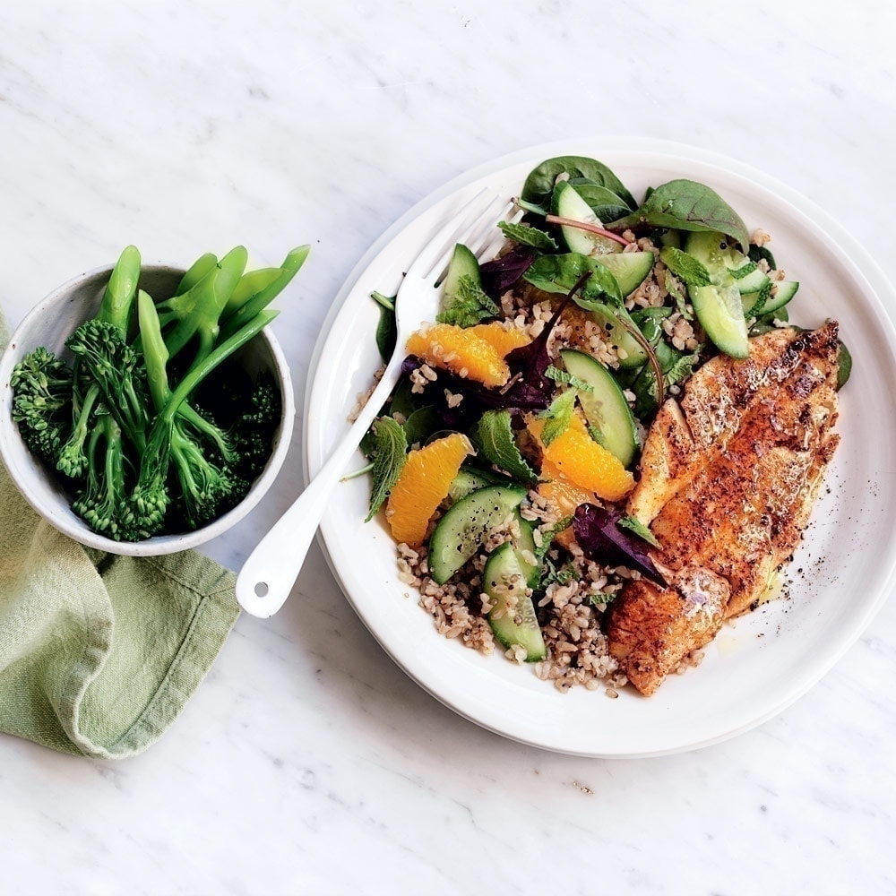 Grilled Fish With Rice Quinoa And Orange Salad Healthy Food Guide