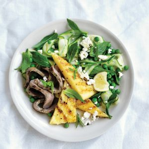 Grilled lamb and polenta with mint and feta greens