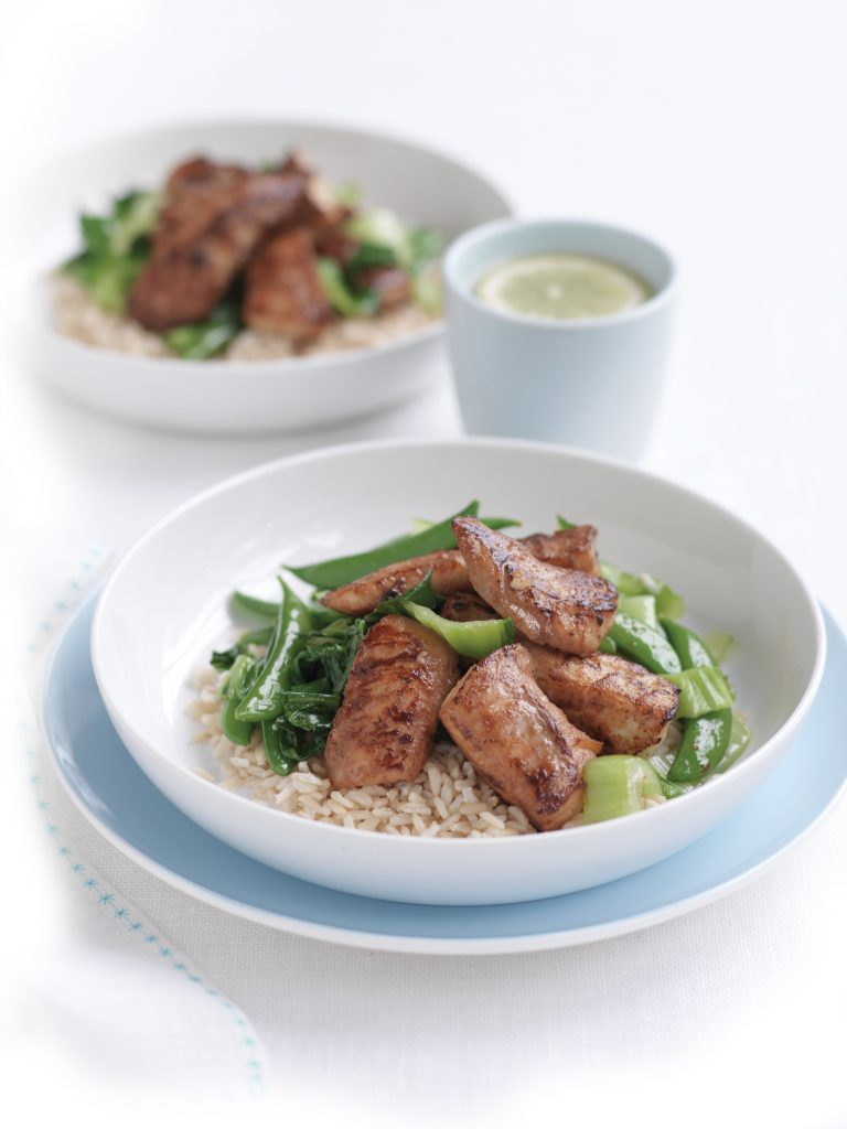 Grilled miso fish with Asian greens and rice