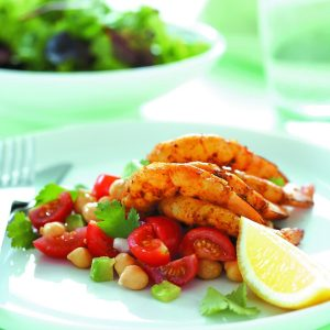 Grilled prawn and chickpea salad
