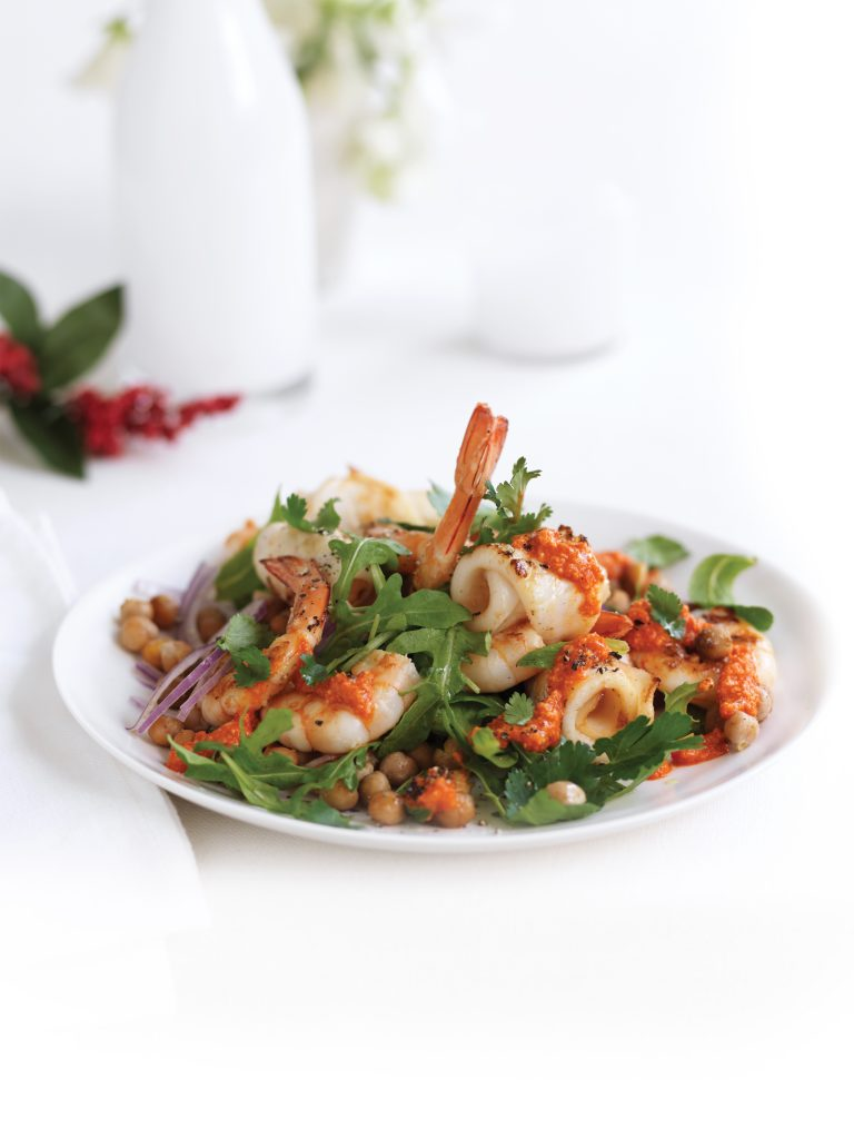 Grilled prawn, calamari and roasted chickpea salad with romesco dressing