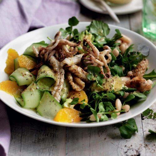 Grilled squid, watercress and orange salad